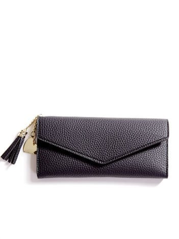 Czarny portfel z ekoskóry z chwostem