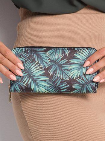 Czarny portfel z motywem roślinnym