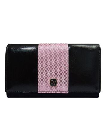 Czarny portfel z ozdobną różową wstawką