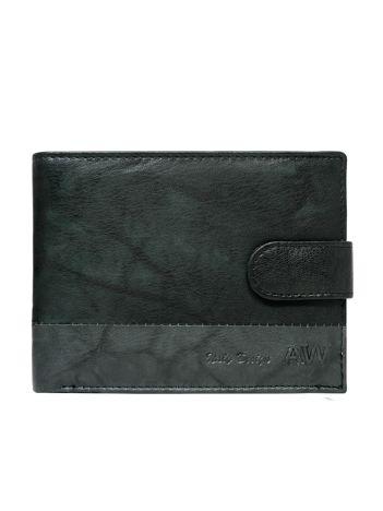 Czarny portfel ze skóry naturalnej z zapięciem