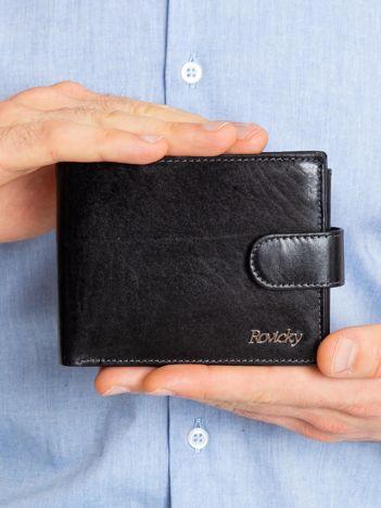 Czarny poziomy męski portfel skórzany