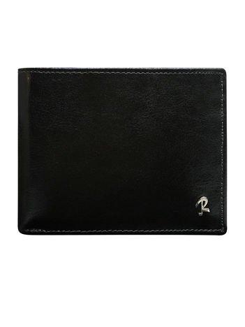 Czarny poziomy portfel dla mężczyzny bez zapięcia