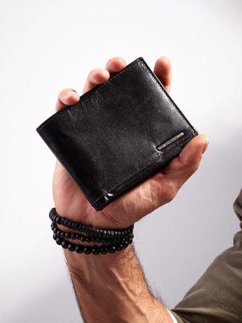 Czarny poziomy portfel ze skóry dla mężczyzny
