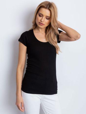 Czarny prążkowany t-shirt