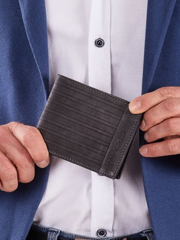 Czarny skórzany męski portfel