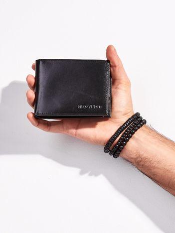 Czarny skórzany portfel męski otwarty