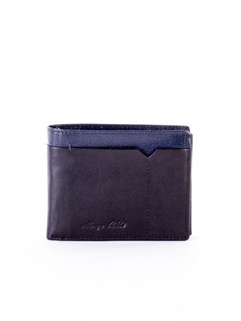 Czarny skórzany portfel męski z granatową wstawką