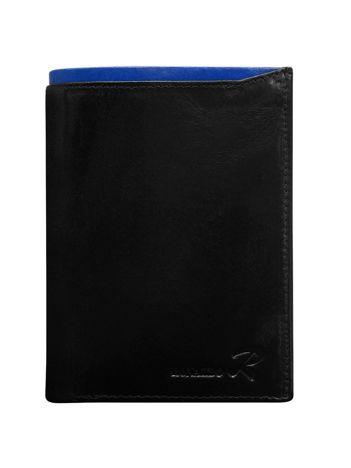 Czarny skórzany portfel męski z niebieskim modułem