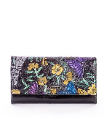 Czarny skórzany portfel w tłoczone kolorowe desenie