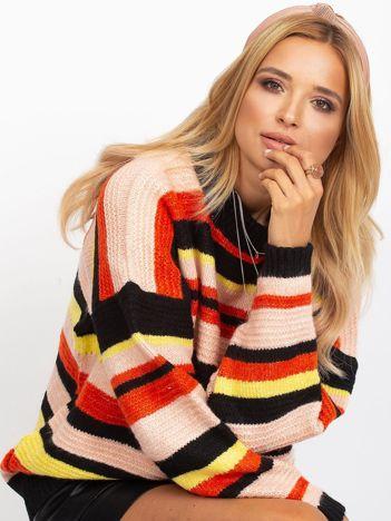 Czarny sweter oversize w kolorowe paski