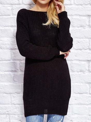 Czarny sweter z wiązaniem