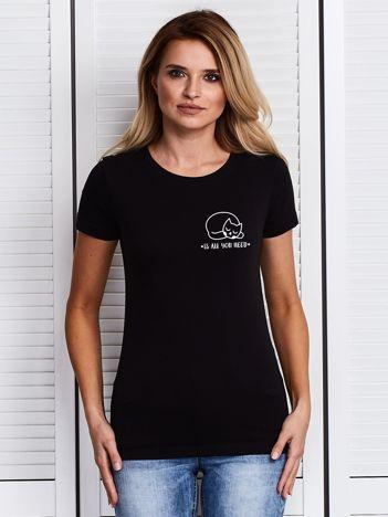 Czarny t-shirt damski CAT IS ALL YOU NEED z kotkiem
