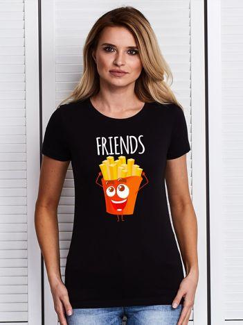 Czarny t-shirt damski z nadrukiem frytek