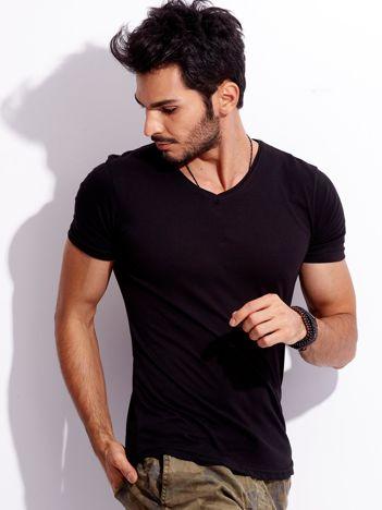 Czarny t-shirt męski V-neck basic
