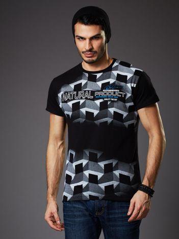 Czarny t-shirt męski z futurystycznym nadrukiem
