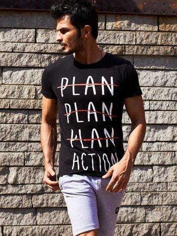 Czarny t-shirt męski z motywacyjnym nadrukiem