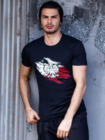 Czarny t-shirt męski z motywem patriotycznym