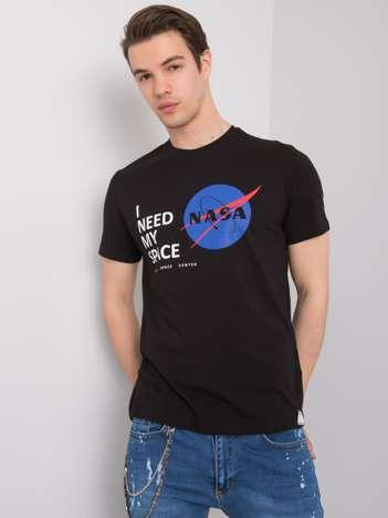 Czarny t-shirt męski z nadrukiem Aiden LIWALI