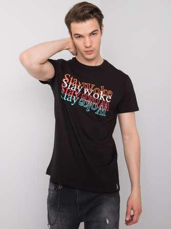 Czarny t-shirt męski z nadrukiem Jay LIWALI