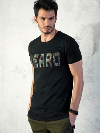 Czarny t-shirt męski z napisem moro