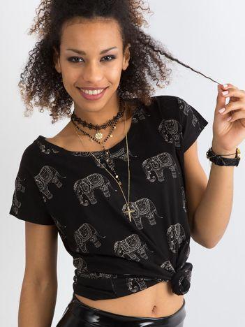 Czarny t-shirt z bawełny z nadrukiem