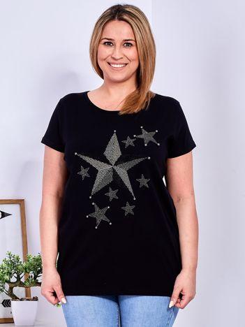 Czarny t-shirt z błyszczącymi gwiazdami PLUS SIZE
