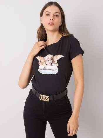 Czarny t-shirt z nadrukiem Ibbie RUE PARIS