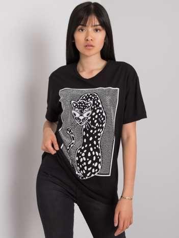 Czarny t-shirt z nadrukiem Sarra