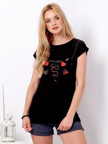 Czarny t-shirt z nadrukiem owadów