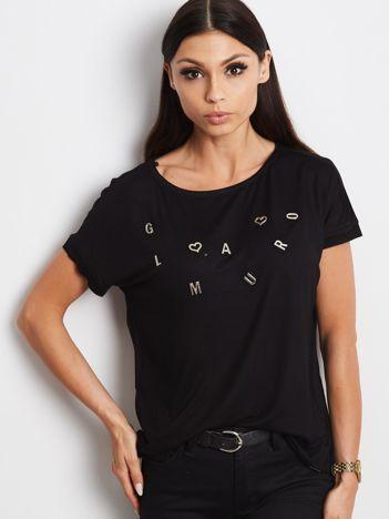 Czarny t-shirt z napisem GLAMOUR