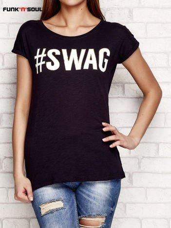 Czarny t-shirt z napisem SWAG FUNK N SOUL