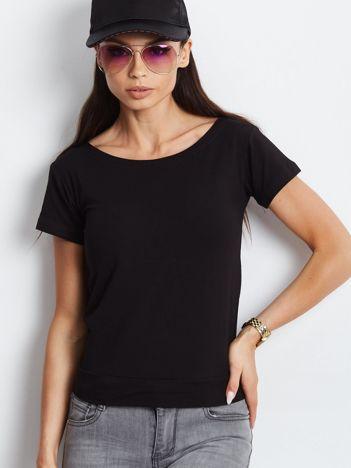 Czarny t-shirt z wiązanym tyłem