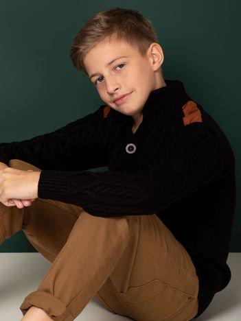 Czarny zapinany sweter dla chłopca