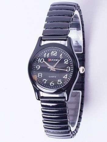 Czarny zegarek damski na elastycznej bransolecie