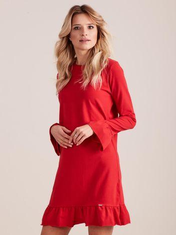 Czerwona bawełniana sukienka z falbanką