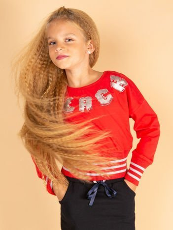 Czerwona bluza dla dziewczynki ze ściągaczami