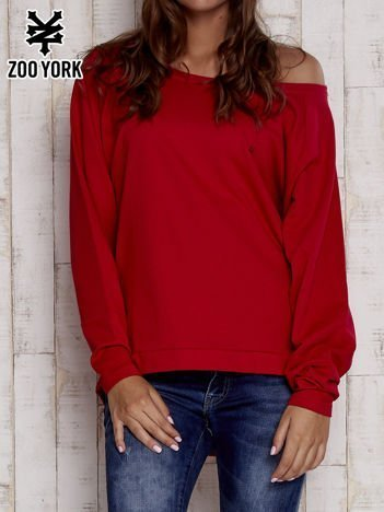 Czerwona bluza oversize z dekoltem w łódkę