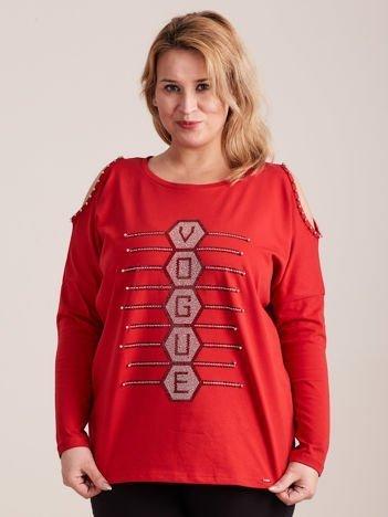 Czerwona bluzka cold shoulder z aplikacją PLUS SIZE