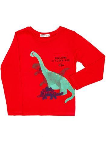 Czerwona bluzka dziecięca z dinozaurami