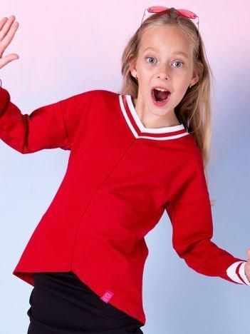Czerwona bluzka dziewczęca V-neck ze ściągaczami