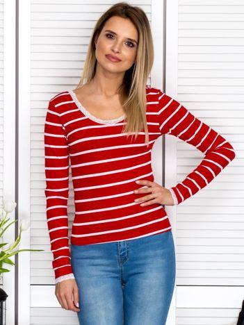 Czerwona bluzka w paski z koronkowym wykończeniem