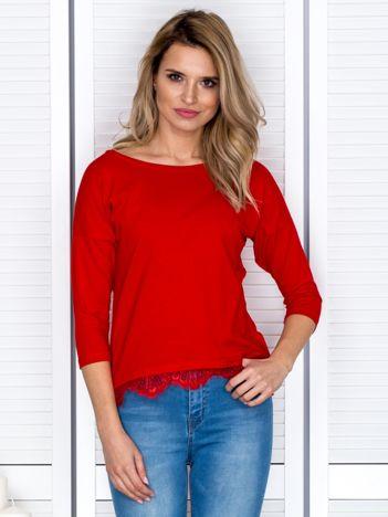 Czerwona bluzka z koronkowym wykończeniem