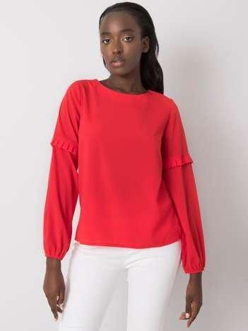 Czerwona bluzka z okrągłym dekoltem Makenna