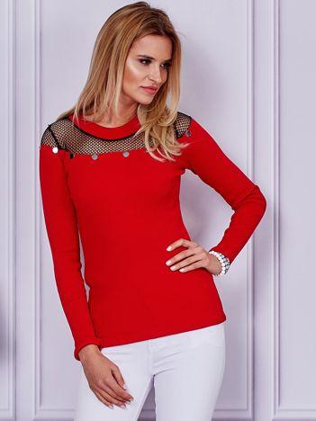 Czerwona bluzka z siatkową wstawką