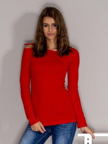 Czerwona bluzka ze sznurowaniem