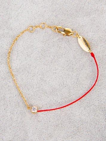 Czerwona damska bransoletka z cyrkonią z najlepszej jakości STALI CHIRURGICZNEJ 316L