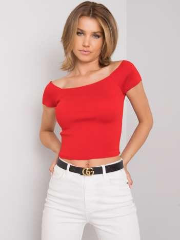 Czerwona dopasowana bluzka damska Promesse