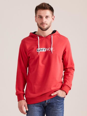 Czerwona dresowa bluza dla mężczyzny z kapturem