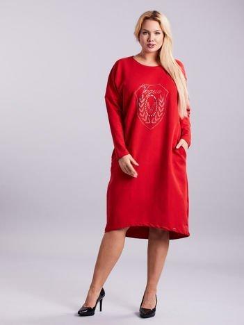Czerwona dresowa sukienka z kieszeniami PLUS SIZE
