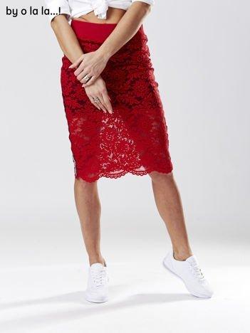 Czerwona koronkowa spódnica z lampasami BY O LA LA